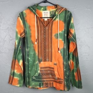 NWOT BEACH BY EXIST Tie Dye Green Orange Hoodie S